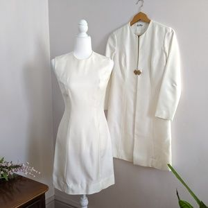 Vintage 60s White Jackie O Coat & Dress Size 2